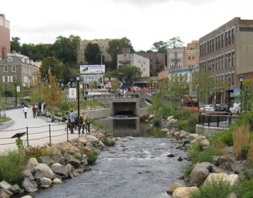 Daylighted Saw Mill River in downtown Yonkers, NY