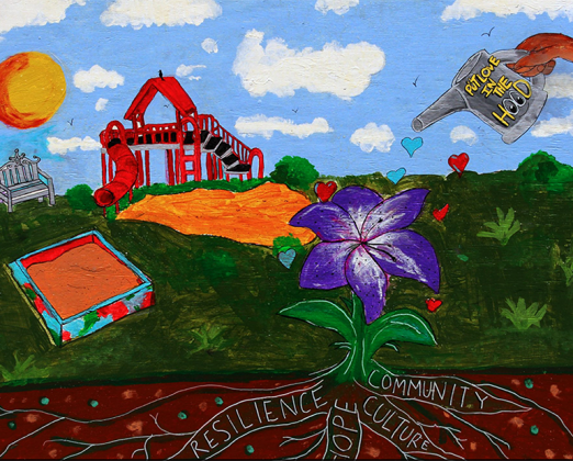 "Community gARTden mural on display in ""Rays of Sunshine Garden"" on the north side of Milwaukee"