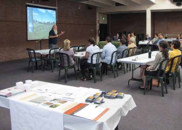 Dave presenting on Platte Farm Open Space  project at community meeting, 2013