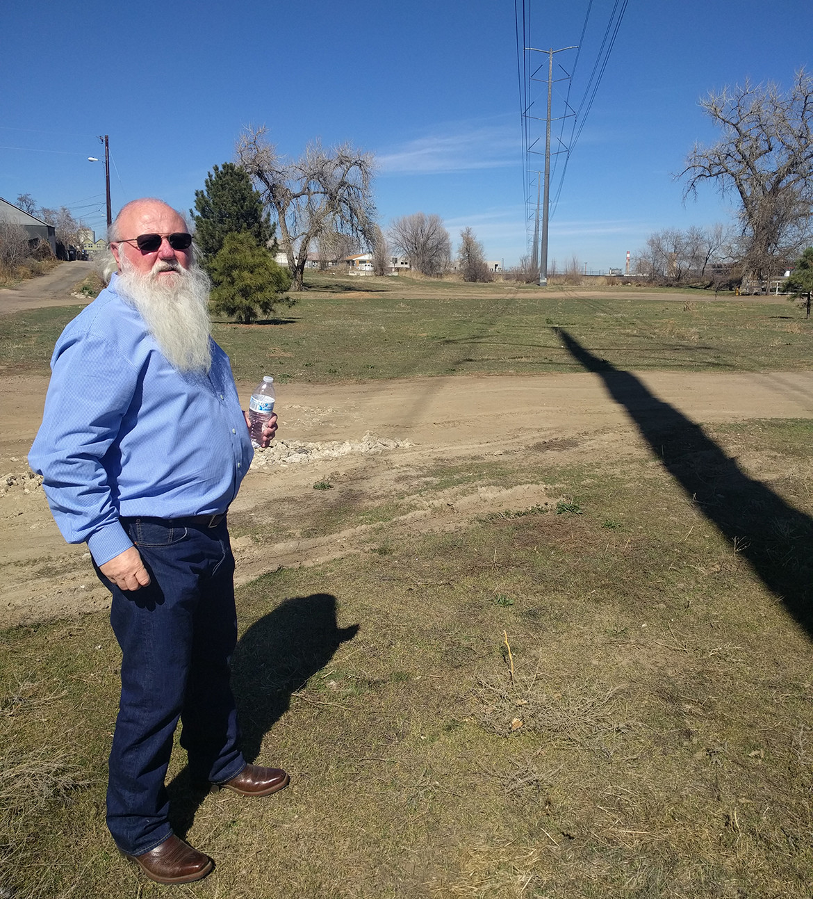 Dave standing on future site of Platte Farm Open Space in Denver's Globeville neighborhood
