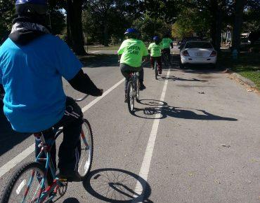Groundwork Indianapolis Green Team biking to the White River Trail