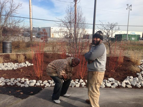 Groundwork Providence stommwater management trainees complete rain garden
