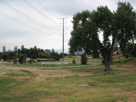 Future site of Denver's Platte Farm Open Space, looking south towards downtown Denver