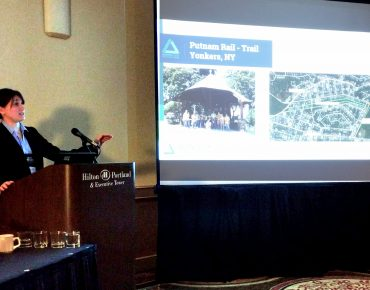 Samantha Robinson of the Groundwork Hudson Valley Green Team presents at the 2016 New Partners for Smart Growth conference in Portland, Oregon