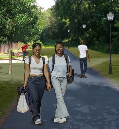 Rendering of women walking along planned Putnam Rail Trail, Yonkers, NY
