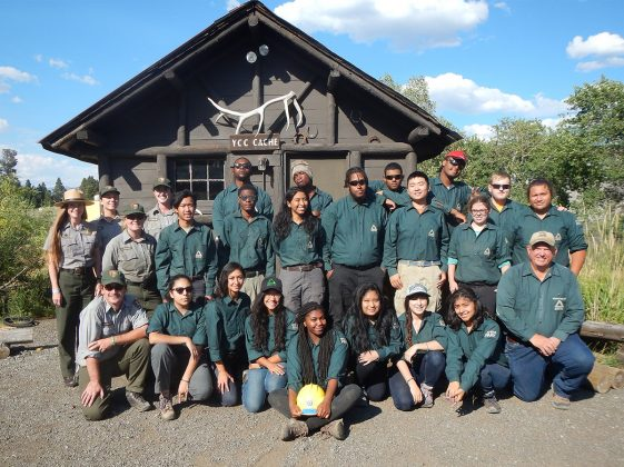 Groundwork USA youth crew at YCC cabin in Yellowstone National Park