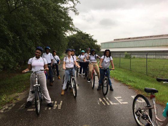 Groundwork Jacksonville summer Green Team bikes the S-Line Trail