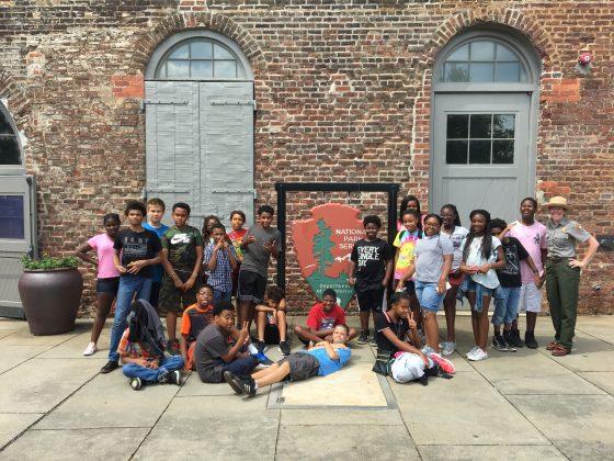 Richmond, VA middle-school students at Tredegar Iron Works