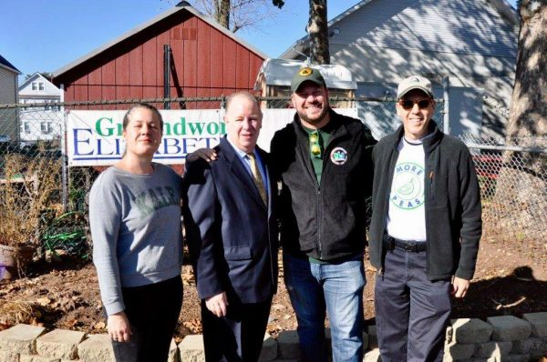 Groundwork Elizabeth Farm and Garden Director Jackie Park Albaum, Elizabeth Mayor Chris Bollwage, NJDEP Deputy Commissioner David Glass, Groundwork Elizabeth Executive Director Jonathan Phillips
