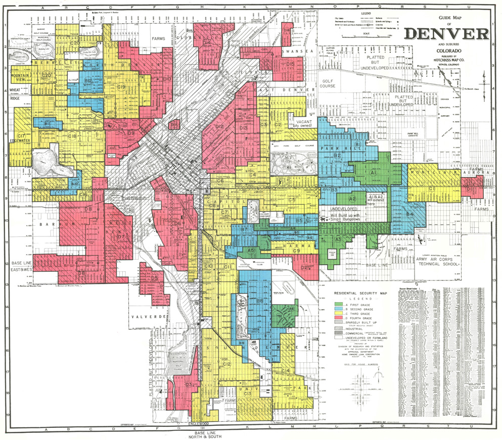 Home Owners Loan Corp Residential Security Map Of Denver 1938