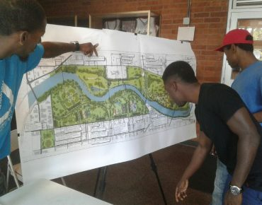 Groundwork Indy youth reviewing Riverside Park Master Plan